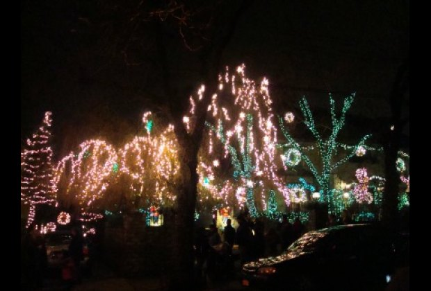 One of many illuminated streets in Dyker Heights