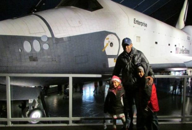 The Space Shuttle Enterprise makes a striking photo backdrop