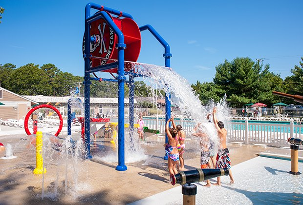 Ocean View Resort Campground offers a splash pad, swimming pool
