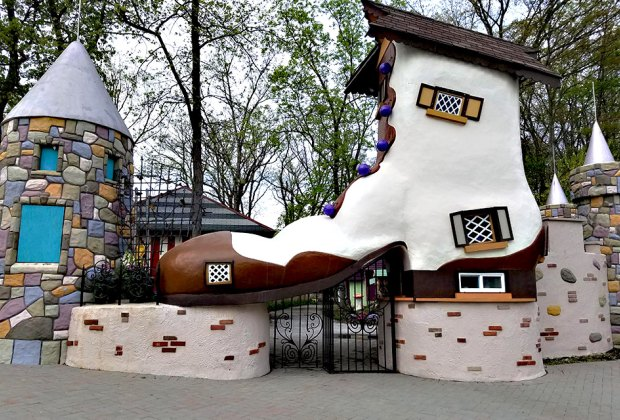 The iconic shoe stands at the gate of Fairy Tale Forest, a beloved NJ theme park that's scheduled to reopen this spring. Photo courtesy of the park