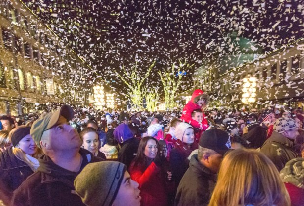Festive crowds gather at the Blink Festival and Tree Lighting at Faneuil Hall Market. Photo courtesy of Massachusetts Office of Travel & Tourism.