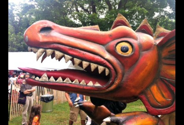 The ferocious mascot of the red dragon carousel