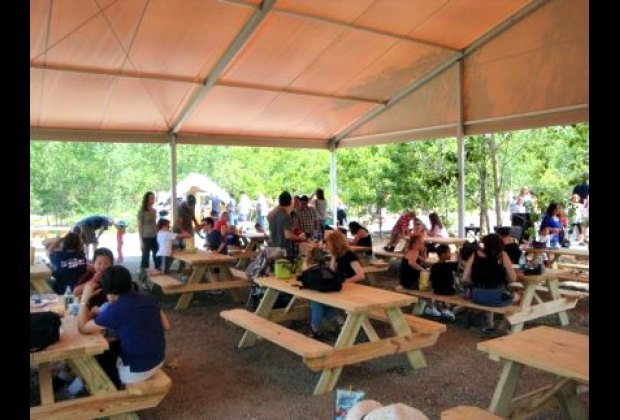 A shaded pavilion where you can eat