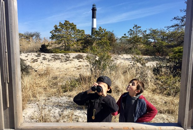 Two kids at the Fire Island Lighthouse