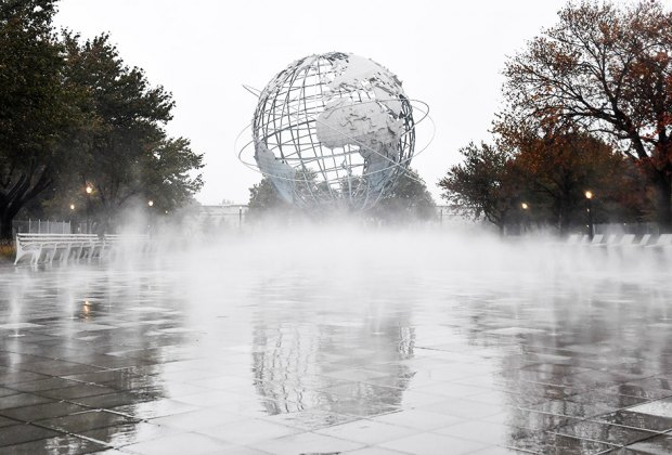 Fountain of the Fairs mist flows at the foot of The Unisphere