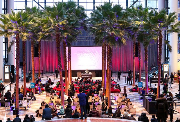 Check out a film at Brookfield Place's Winter Garden. Photo courtesy of Arts Brookfield