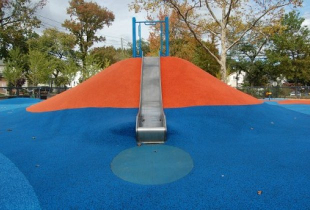 A slide embedded into a hill