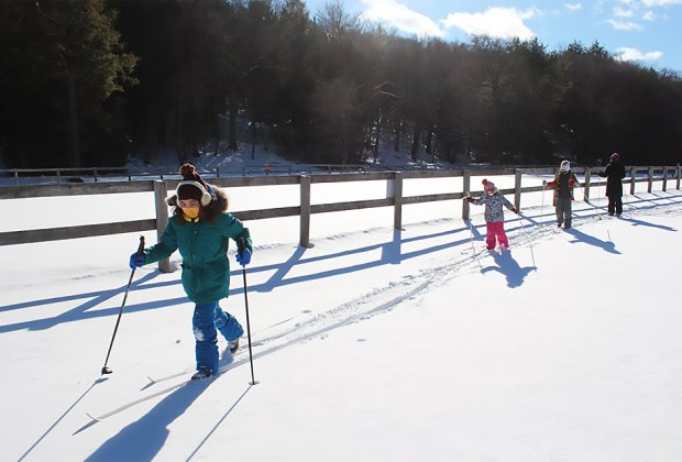 Kids cross-country skiing at Frost Valley YMCA Cross-Country Skiing Near NYC