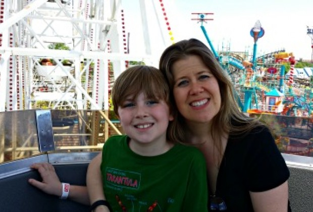 Me and my son at the top of the Ferris Wheel.