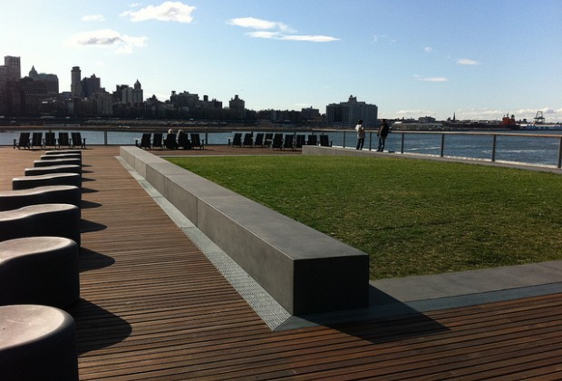 The two-level park at Pier 15 has a lawn, great views and concessions