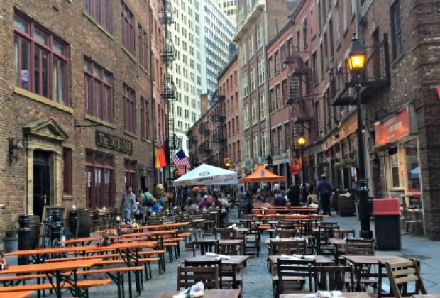 Outdoor seating at the restaurants along Stone Street