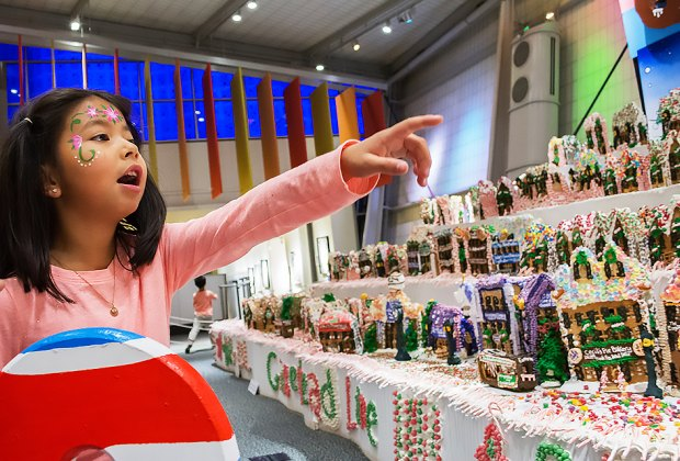 Visitors can marvel at homemade gingerbread houses made entirely of edible gingerbread, royal icing and candy ay NYSCI. Photo courtesy of NYSCI