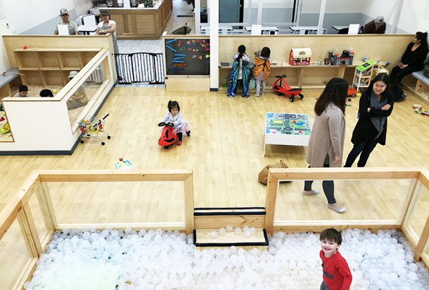 At Good Day Play Cafe, parents and caregivers can sit back in the cafe at still keep an eye on their kiddos in the play space. Photo by Louise Trapasso