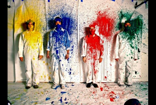 """Costumes from OK Go's """"This Too Shall Pass"""" video at the Moving Image's Spectacle; image courtesy of Contemporary Arts Center"""