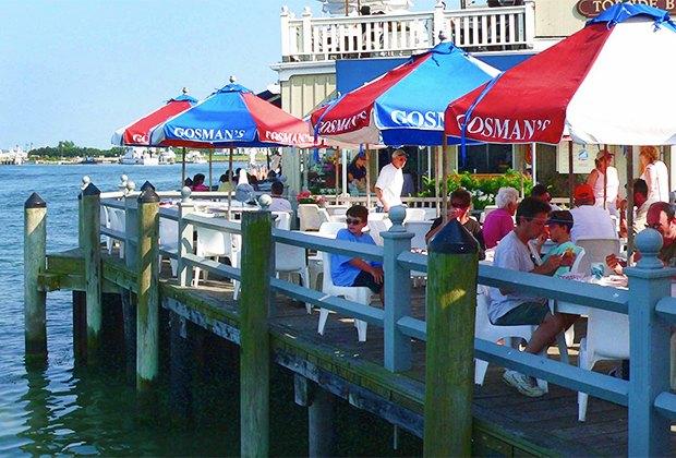 Dine on the dock at Gosman's