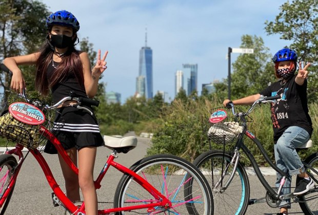 two kids on bikes on governors island