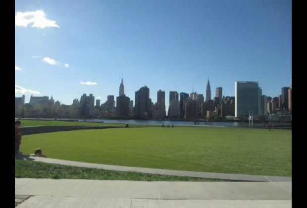The grassy oval centerpiece of the lovely Hunters Point South Park