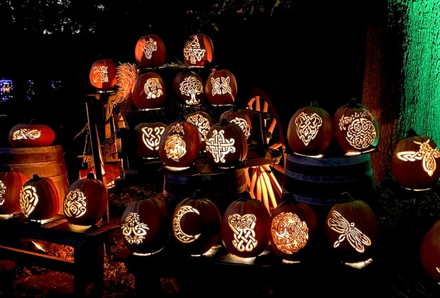 Detailed jack-o'-lanterns carved in celtic designs line the path at the Great Jack O'Lantern Blaze Long Island