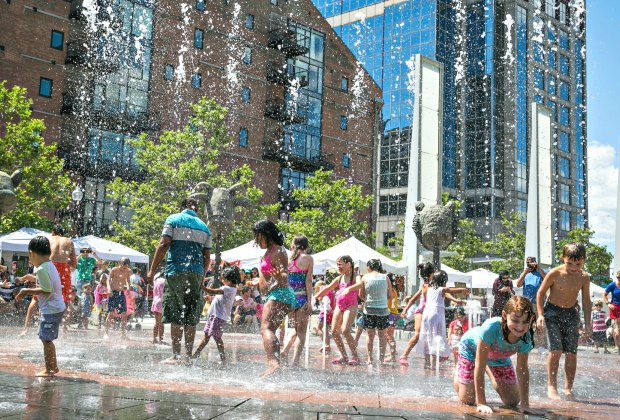 The Greenway Fountains have a variety of spraygrounds. Photo by Kyle Klein courtesy of Greater Boston Convention & Visitors Bureau