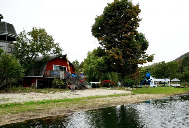 cabins and the lake at Harmony Ridge Campground