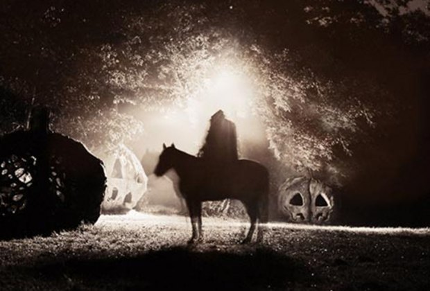 Shadowy Headless Horesman tries to evade view on the drive-thru Halloween attraction Horseman's Trail