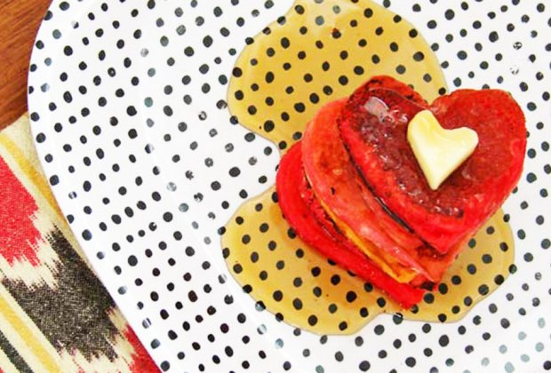 Heart-shaped pancakes are a favorite Valentine's Day breakfast.