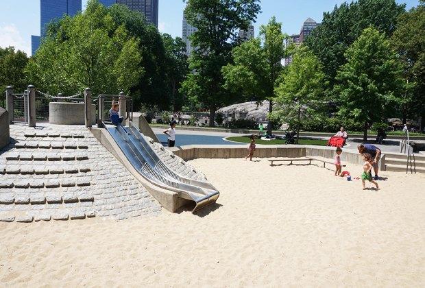 Sanbox and slide at Heckscher Playground in Central Park