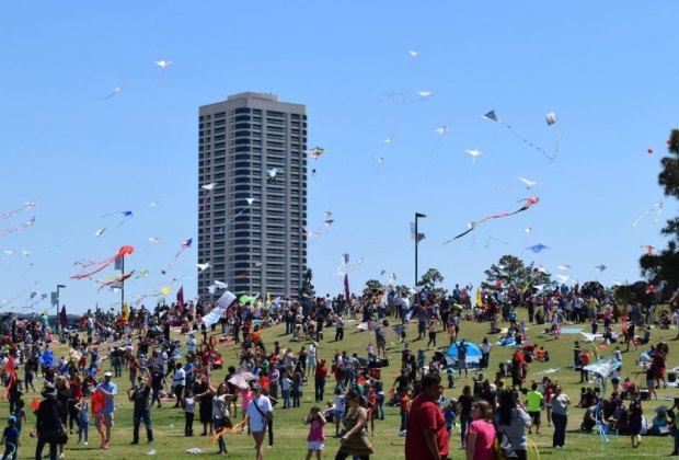 A sky filled with colorful kites is a sight to see at the annual Hermann Park Kite Festival. Photo courtesy Hermann Park Conservancy