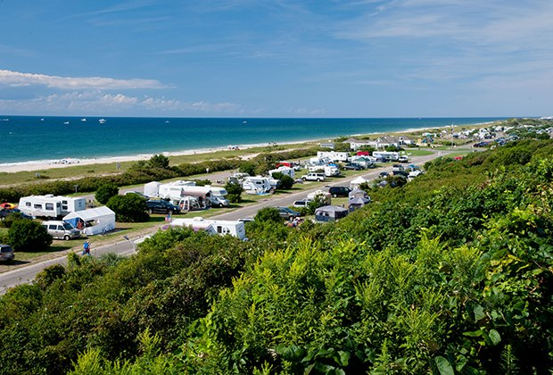 Campsite at Hither Hills Camperlines up on the shoreline