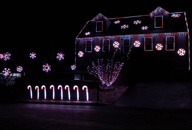 Lights on Jenkins Court take on a candy-cane inspired look