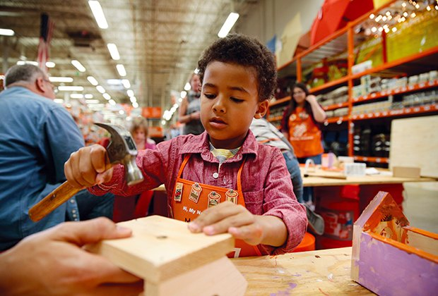 Home Depot hosts free Kid Workshops on the first Saturday of every month.