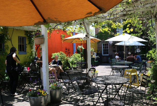 The backyard of Homespun Foods is a beautiful spot to enjoy a meal things to do in Beacon with kids