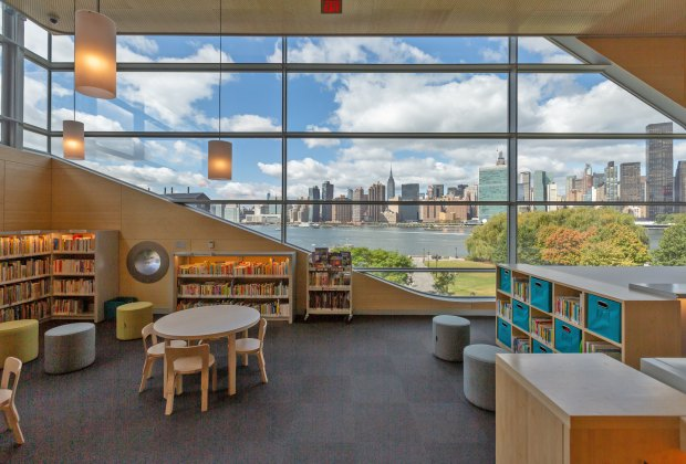The new waterfront library at Hunters Point in Queens has lovely views from the children's area.