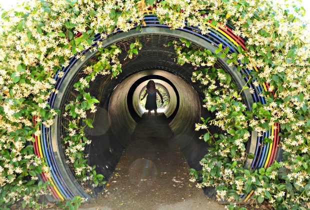 The Children's Garden has interactive sculptural elements like this prism tunnel. Photo courtesy of The Huntington Library, Art Collections, and Botanical Gardens