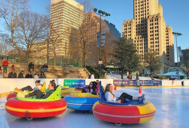 Ice rink bumper cars are a novel find just across the Rhode Island border! Photo courtesy of the BankNewport City Center