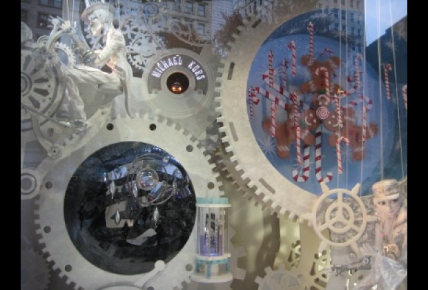 Whirligigs and gears spin in Macy's Make-A-Wish window