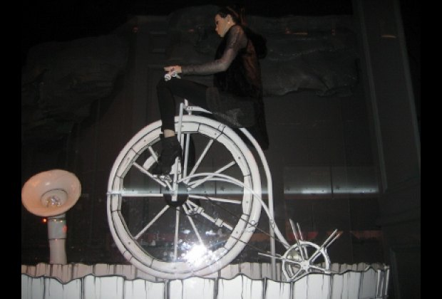 A trike-powered mannequin at Saks Fifth Avenue