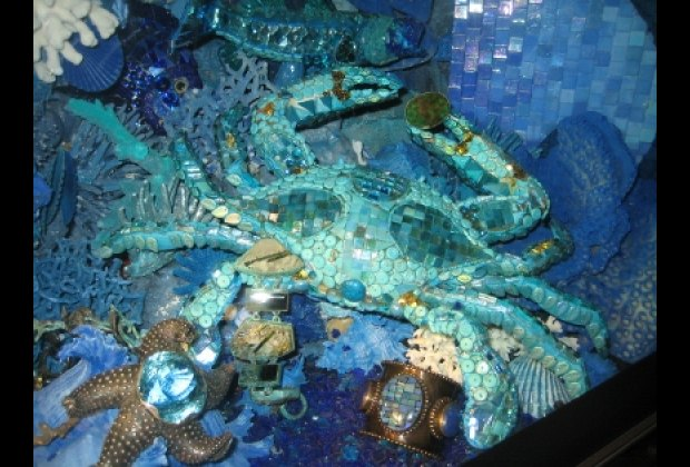 A glass crab at Bergdorf Goodman