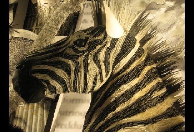 An amazing paper zebra at Bergdorf Goodman