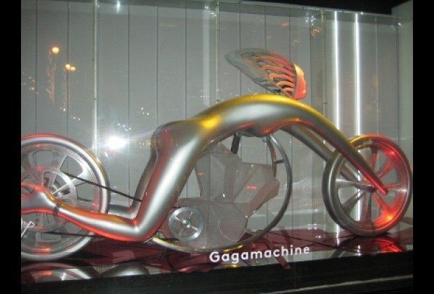 Lady Gaga as a sleek futuristic cycle at Barneys