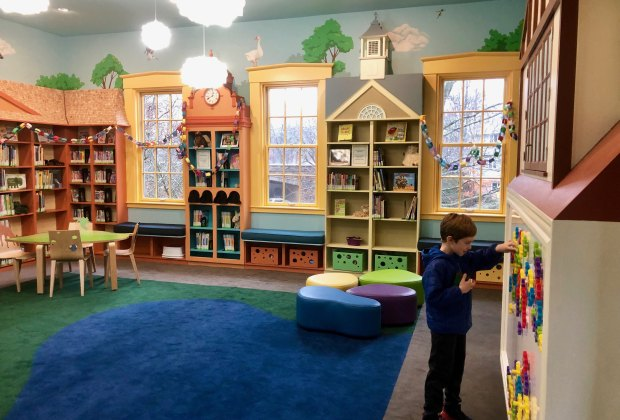 """Wellesley's Fells Branch has been renovated into a """"learn and play"""" space. Photo courtesy of Mommy Poppins"""