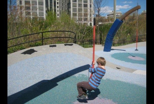 Swinging like Tarzan at Pier 6's Swing Valley
