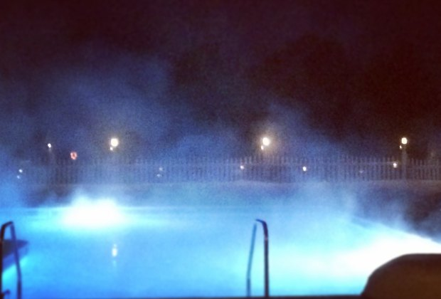 The outdoor pool is heated year-round