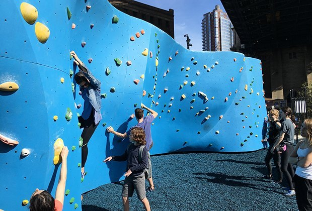 climbing the walls at Dumbo Boulders