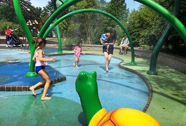 kids playing in the water at the Van Saun sprayground.