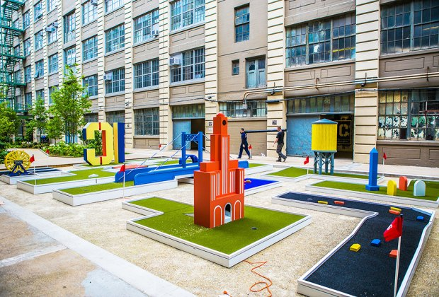 Putt-putt at the seasonal course at Industry City in Brooklyn. Photo courtesy the golf course