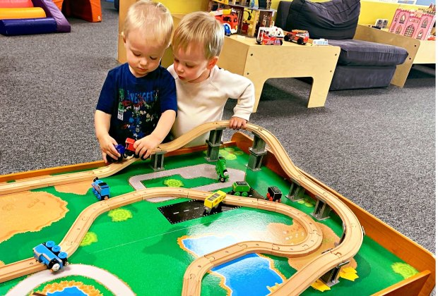 There are toys quieter play after kids get their energy out on the play structures at Jam Time.