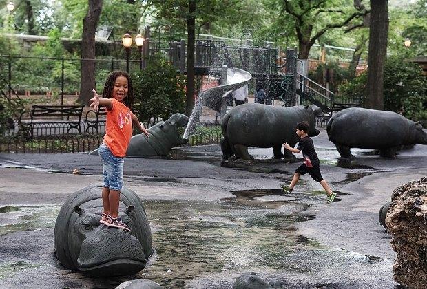 Shady playground at Hippo Playground in Riverside Park