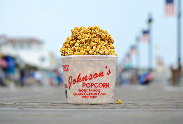 tub of caramel corn popcorn ocean city boardwalk new jersey