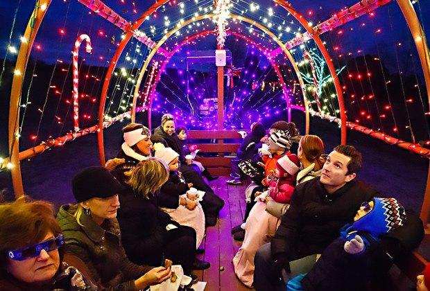 Go on a musical light show hayride at Johnson's Corner Farm. Photo courtesy of the farm